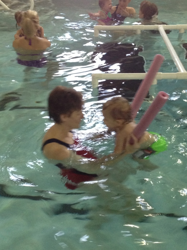 using a pool noodle with Miss Kim