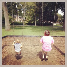 swinging with Nini at the park