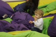 helping deflate the bounce house